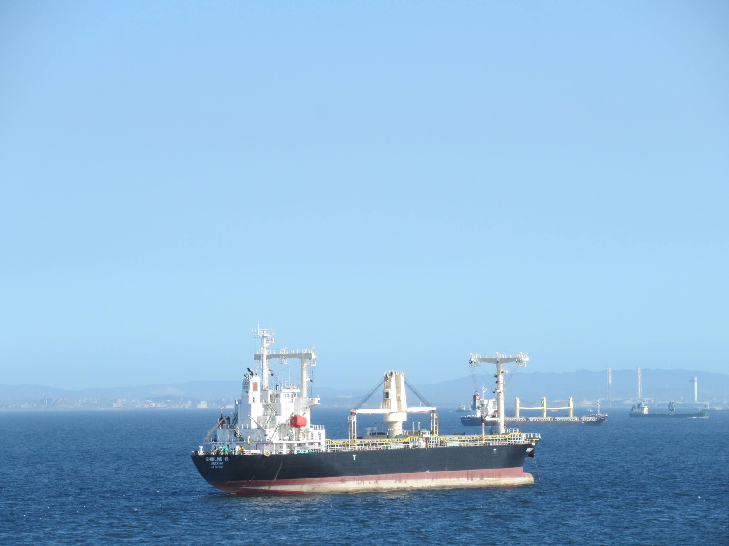 Yokohama Port Symbol Tower・Cargo ship and Boso Peninsula