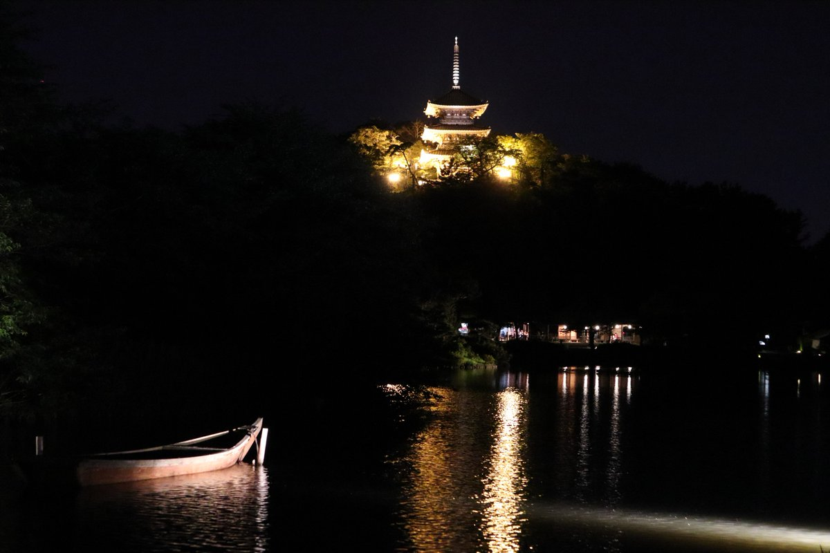 Sankeien Garden/Yokohama・night view of big pond and the Three-Storied Pagoda